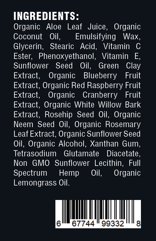 CBD Lotion ingredients
